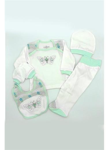 Bebbek Bebbek T795 Kare Yaka Uzun Kol Kelebek Desenli Kız Bebek 5'Li Hastane Çıkışı Zıbın Seti Pudra